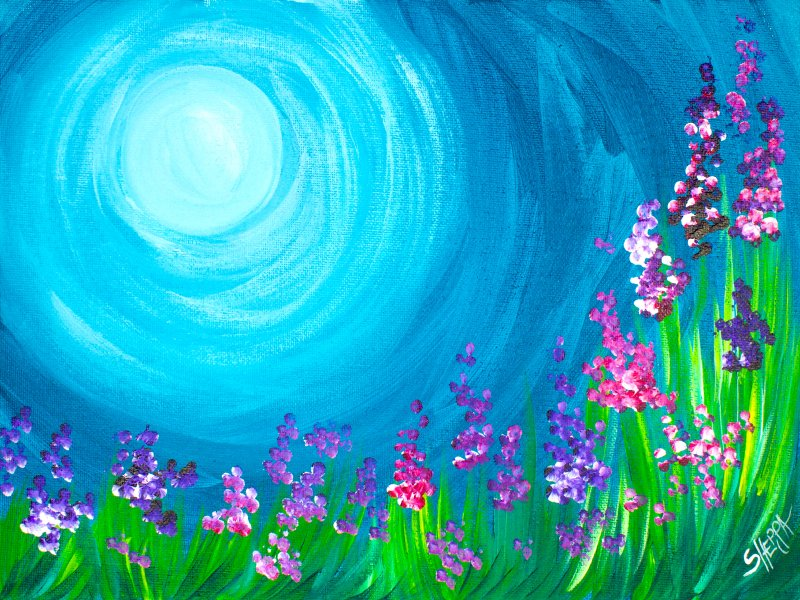 How to paint acrylic wildflowers easy with q tips for Painting with nature items