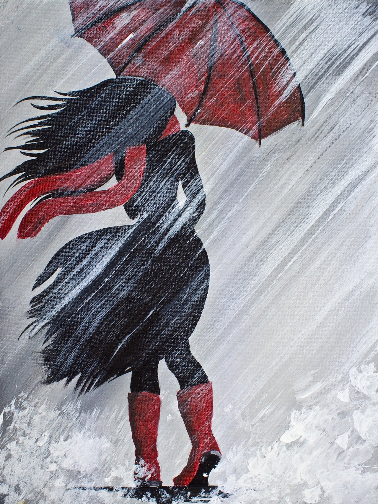 A Walking In The Rain With Red Umbrella Acrylic Painting By Art Sherpa