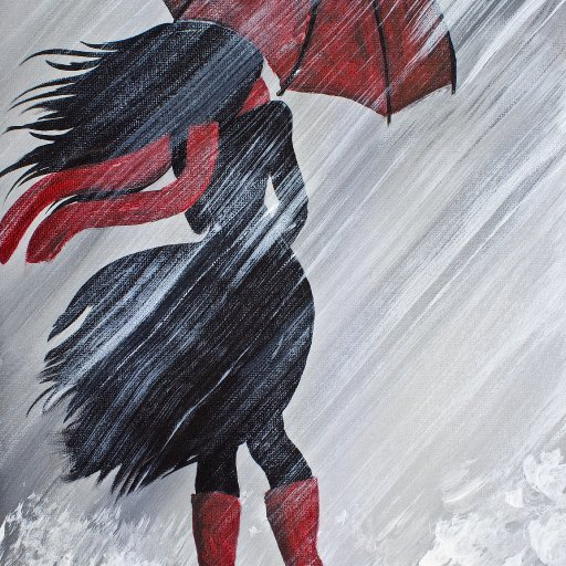 A Girl Walking in the Rain with red umbrella  Acrylic Painting By The Art Sherpa