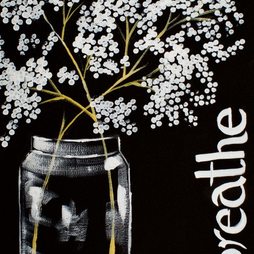 Mason Jar and Babies Breath Q-tip Acrylic Painting by the Art Sherpa