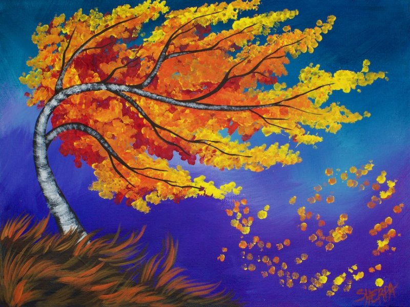 16 amazingly beautiful q tip paintings in acrylic for for Fall paintings easy