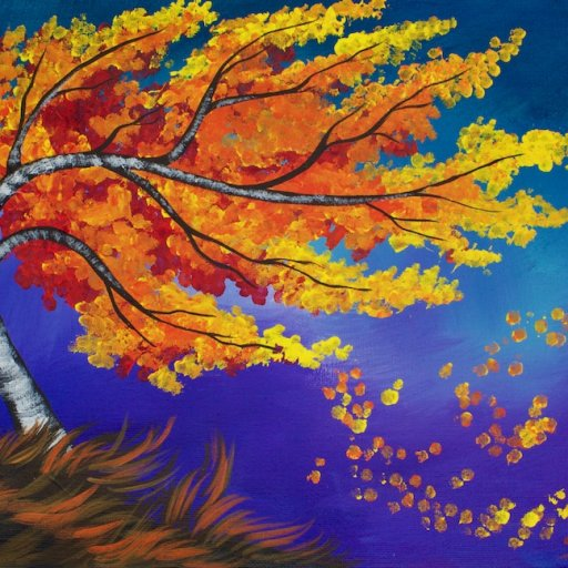 Fall blowing Birch Tree painting Acrylic With Q-tips Art Sherpa