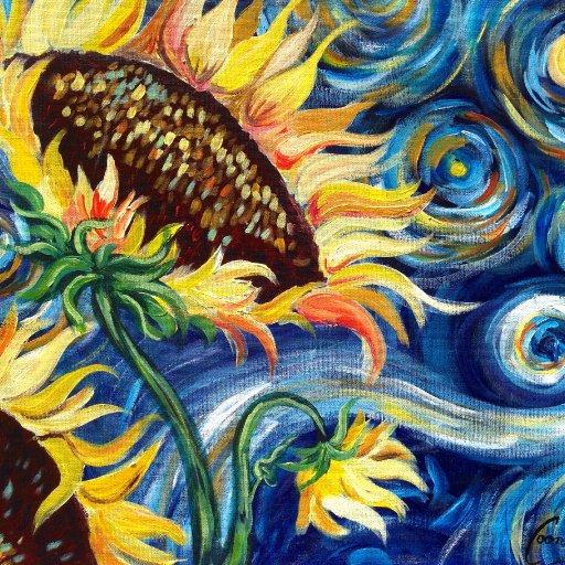 Sunflowers Tutorial | Vincent Van Gogh Starry Night | Beginner Acrylic Painting The Art Sherpa