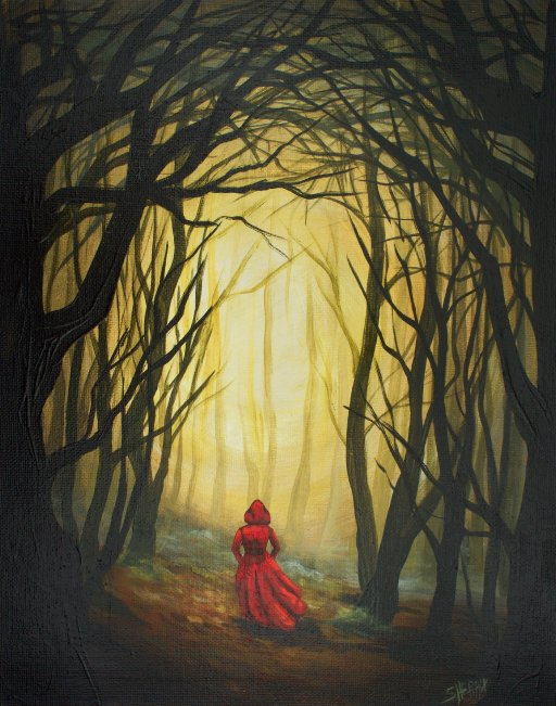 Red House Drawing: Red Riding Hood Into The Dark Woods Acrylic Painting