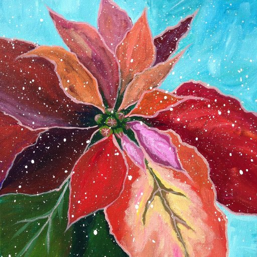 EASY Floral Acrylic Paint tutorial for Beginners Poinsettias | Angelooney - The Art Sherpa