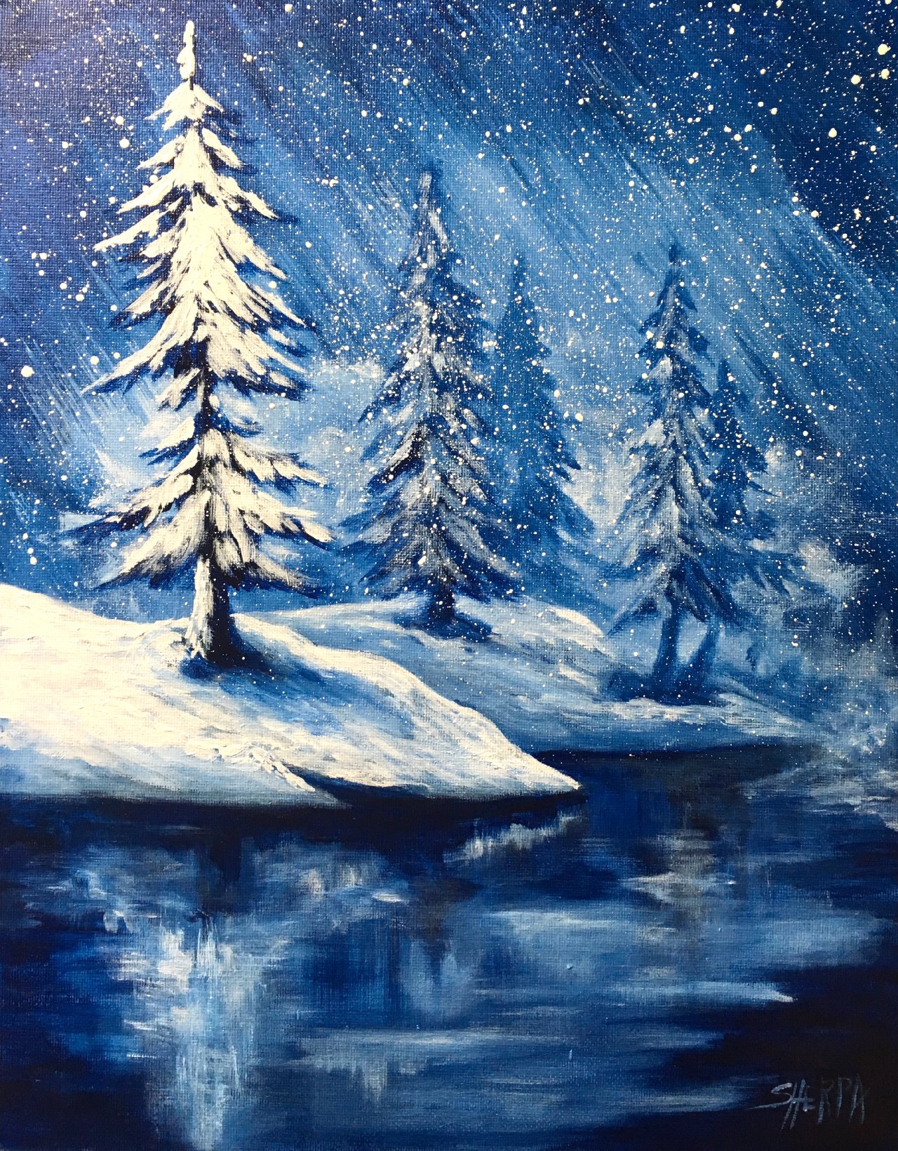 Simple Winter Landscape Frozen Lake With Pines The Art