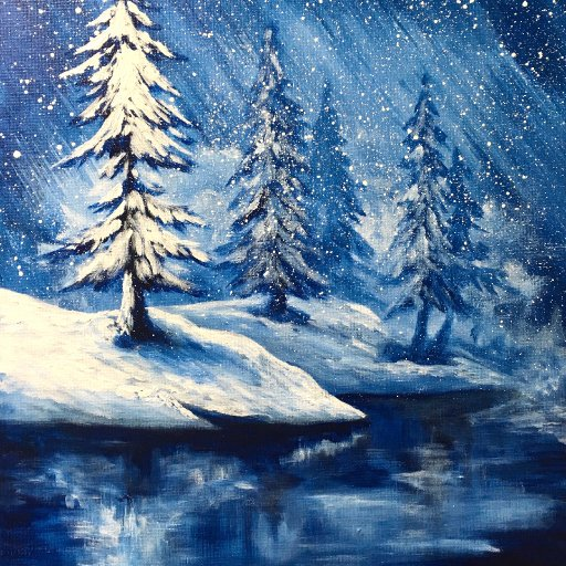 Simple Winter Landscape Frozen Lake with Pines The Art Sherpa