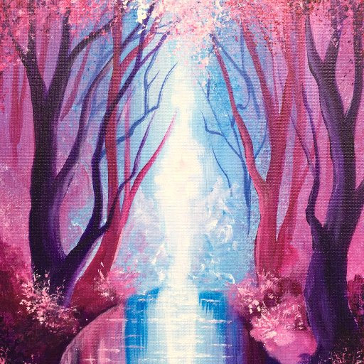 Pink Trees with Reflections The Art Sherpa