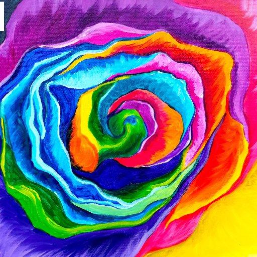 painted rose rainbow
