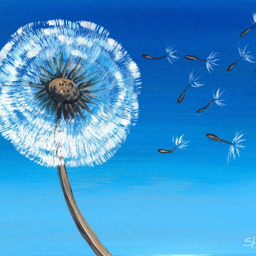 Wish Dandelion Acrylic painting  tutorial
