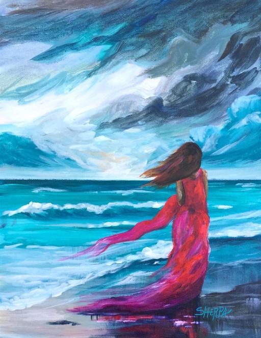 Storm Watcher A Girl Walking The Beach Gallery The Art