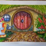 LOTR watercolor Shire Doorway