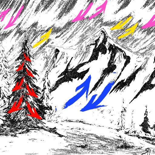 Brush stroke mountain