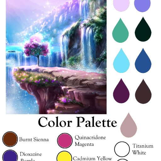 Color palette fantasy Waterfall