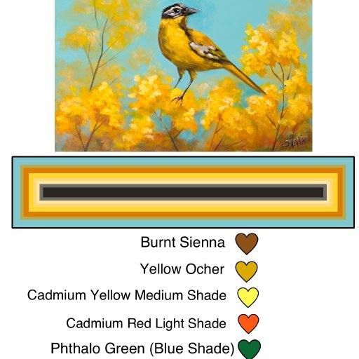 yellow bird painting color pallet