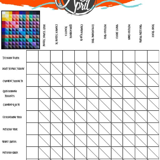 Blank color chart 2020 Acrylic April
