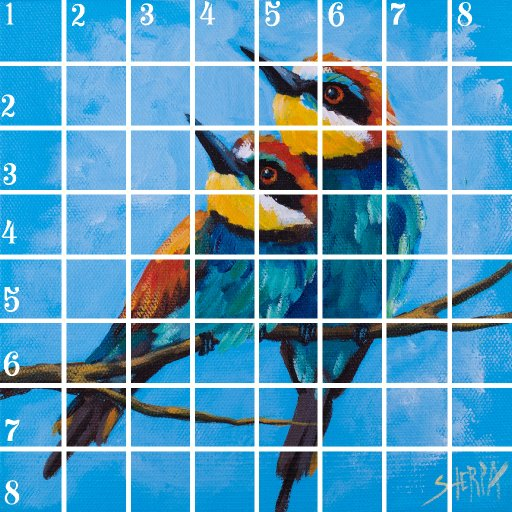 Acrylic April grid 13