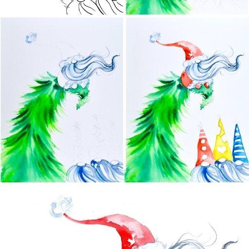 watercolor gnomies