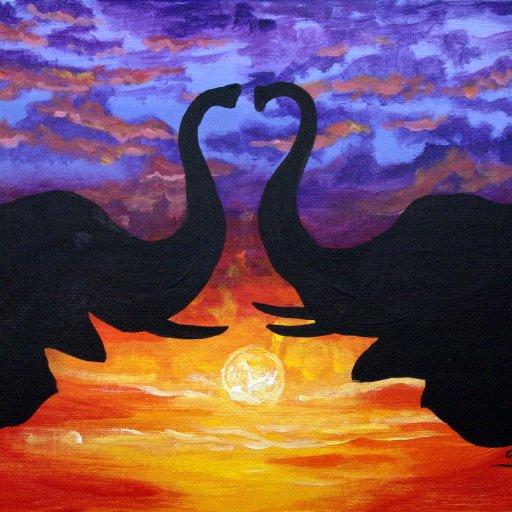 sunset love elephant