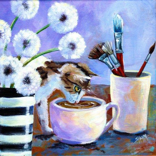 patron painting cat studio