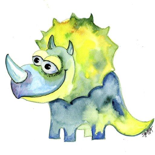 dino watercolor patron