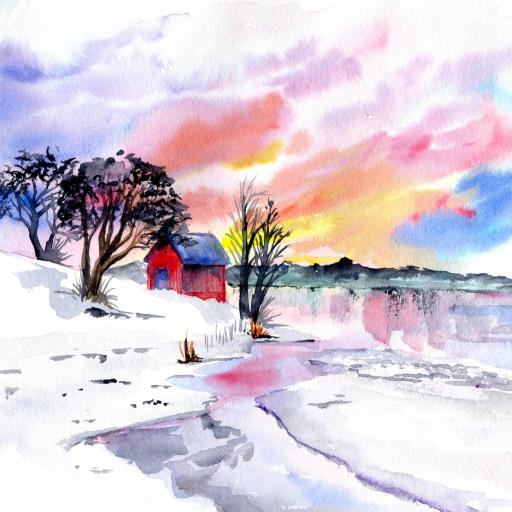 patron winter watercolor
