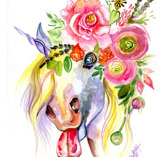 silly horse watercolor patron
