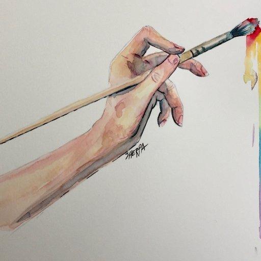 watercolor hand patron