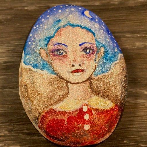 girl on rock watercolor patron