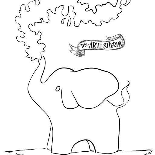 adorable Elephant patron Watercolor traceable