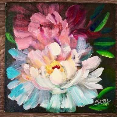 The Art Sherpa painting Peony 8 x 8 (free gift with purchase)