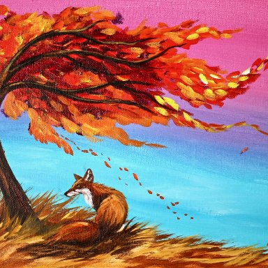 Sherpa Fall Fox Painting 8 x 10 (free gift with purchase)
