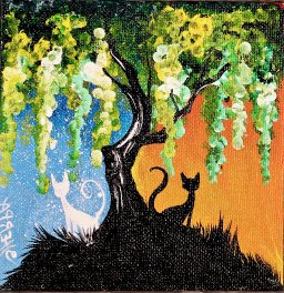 The Art Sherpa Day and Night Cats painting 5 x 5 (free gift with purchase)