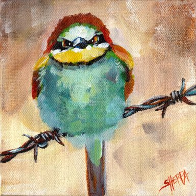 #7 Bird Hop 8x8 Print. Angry Bird on a Wire by The Art Sherpa