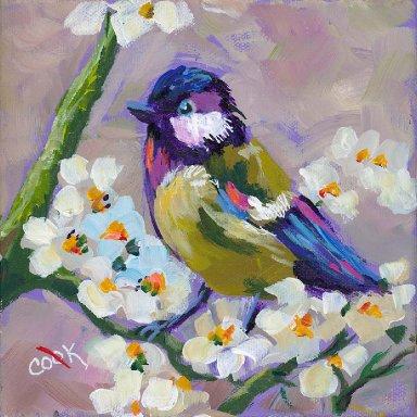 #8 Bird Hop 8x8 Print. Little Bird on Blossoms by Ginger Cook