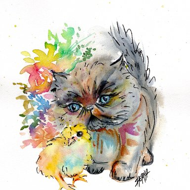 Sherpa Stash Sale - Adorable Kitten and Chick watercolor painting
