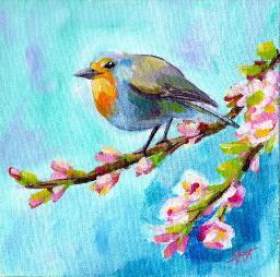 Sherpa Stash Sale - Beautiful Bird on a Branch Painting