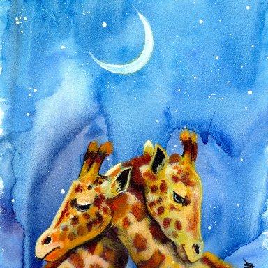 Sherpa Stash Sale - Giraffe Love Under the Stars Mixed Media Painting