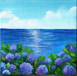 Sherpa Stash Sale -  Ocean and Hydrangea Painting