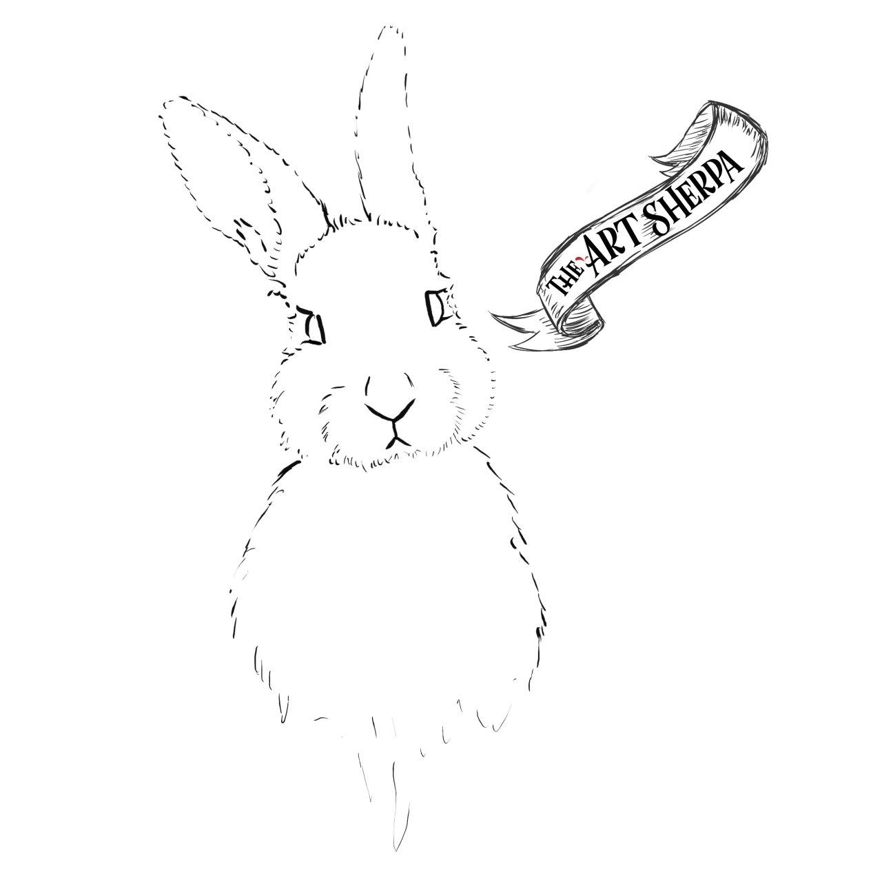 Watercolor rainbow Bunny Traceable