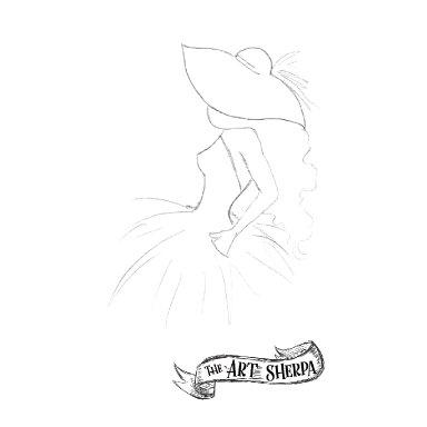 girl in hat traceable watercolor