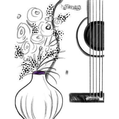 Guitar and flower traceable