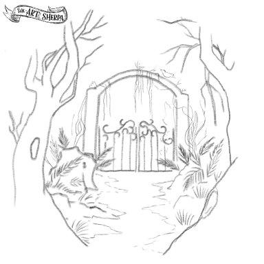 Magic Fantasy Garden Gate traceable