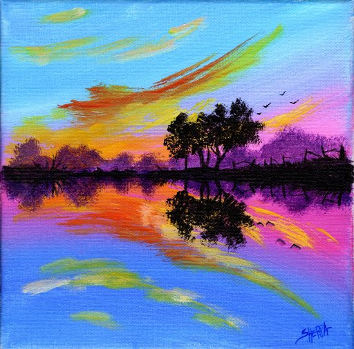TAS210402.01 -Acrylic April Day 2 reflected sunset  Final .jpg