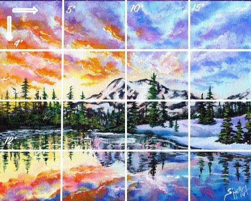 16x20 grid Horizontal    snowy mountain sunset .jpg