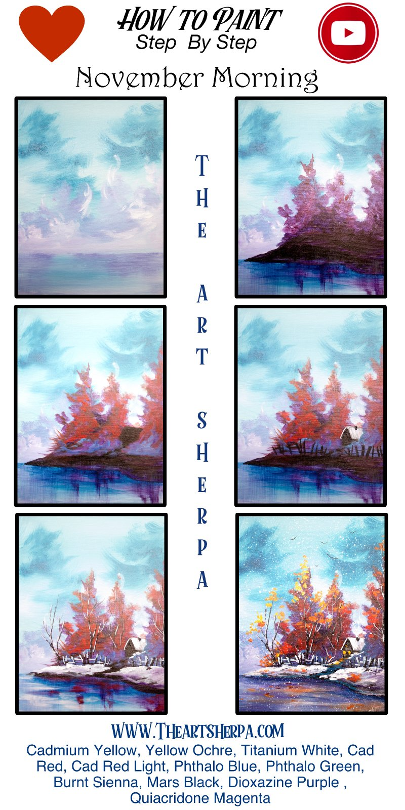 Fall Snow Landscape Easy Acrylic Painting Tutorial Step By
