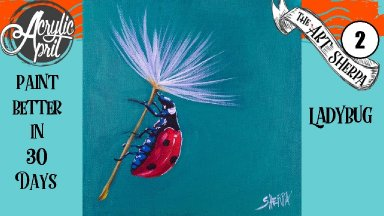 Easy Daily Painting LadyBug Step by Step Acrylic Tutorials Day #2 #AcrylicApril2020