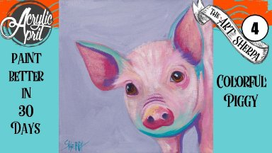 Easy Daily Painting Colorful Pig  Step by Step Acrylic Tutorials Day #4   #AcrylicApril2020