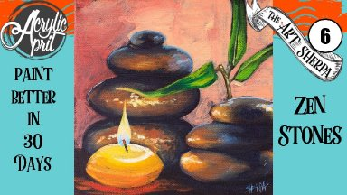 Zen Stones  Candle Easy Daily Painting  Step by step Acrylic Tutorials Day 6  #AcrylicApril2020