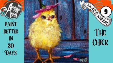 Fluffy Baby Chick  Easy Daily Painting  Step by step Acrylic Tutorials Day 9  #AcrylicApril2020